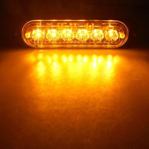 4X Amber 6 LED Car Truck Emergency Beacon Warning Hazard Flash Strobe Light Bar