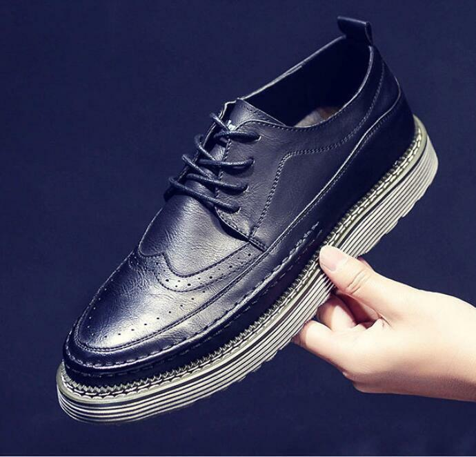 Chic Uomo Leisure Lace Up British Wing Spring Tips Carved Brogues Shoes Spring Wing Casual 224b73