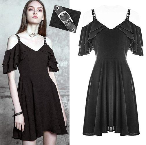 Robe évasée gothique lolita fashion volants épaule nu sangles cuir été PunkRave