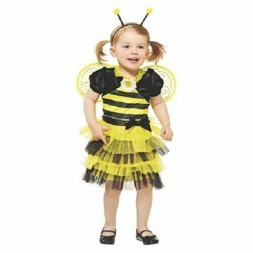 Buzzy Bee Costume Black Yellow Dress With Wings Toddler Girls Size