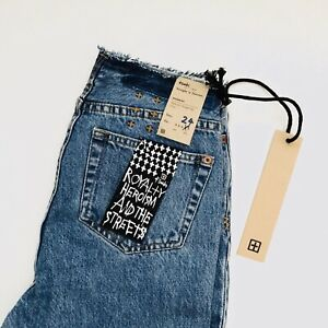 top-rated quality 2019 wholesale price special section Details about Ksubi Straight N Narrow Ripped City Women's Mom Jeans Cropped  Rave Denim Blue