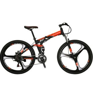 """27.5"""" Folding Mountain Bike 21 Speed Full Suspension Mens Bikes Bicycle Orange"""