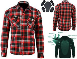 Motorcycle Kevlar® Lined Flannel Lumberjack Shirt Red with Removable CE Armour