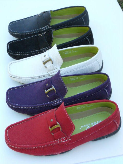 Mens Shoes Casual Driving Moccasins Loafer Synth Leather Blk Red Wht Navy Purple