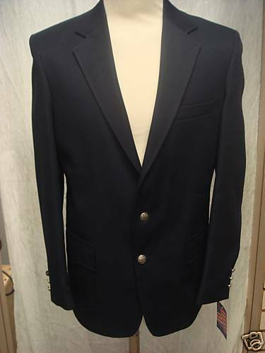38L New  Herren Western Wear Sport Coat  Navy 100% PolyGab