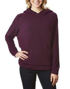 32 Degrees Women/'s Sherpa Lined Pullover Hoodie Wine Black Sherpa
