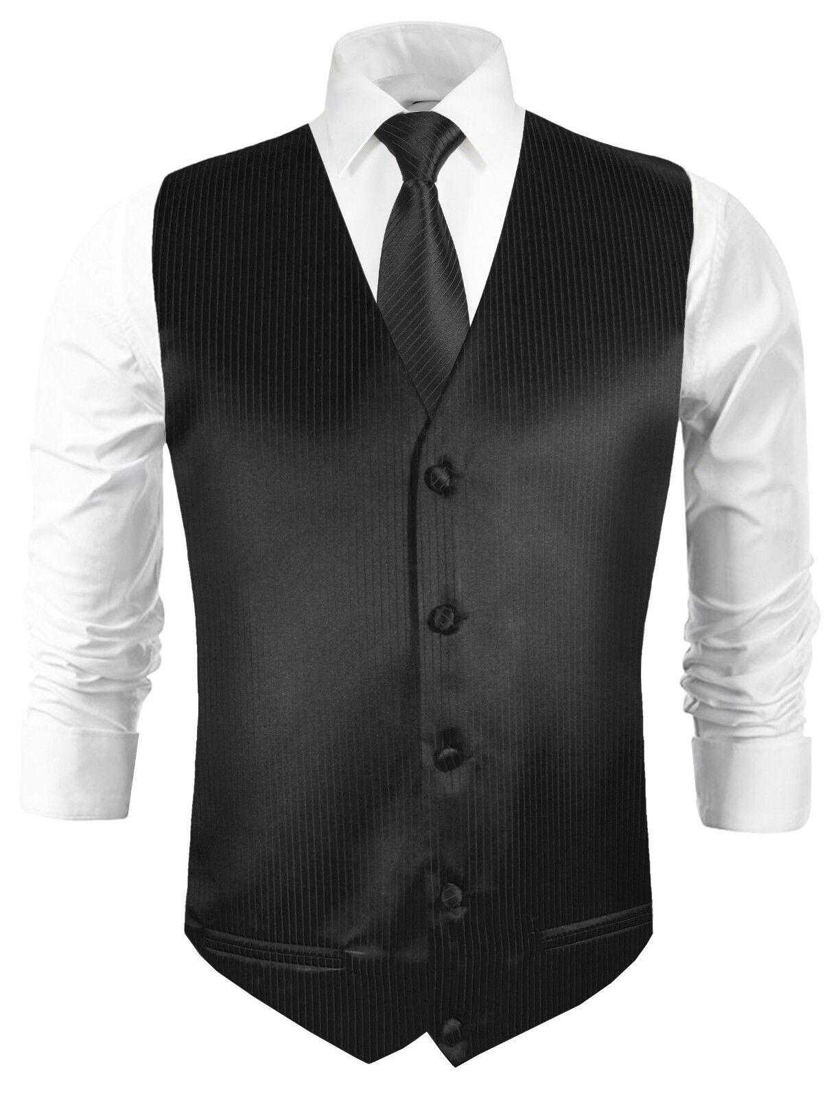 Paul Malone Hochzeitsweste mit Krawatte schwarz uni gestreift v21