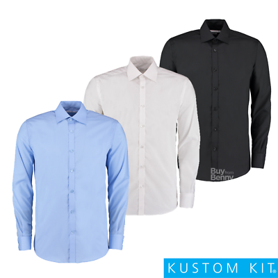 Kustom Kit Business Shirt Slim Fit Easy Iron Fused Collar Smart Work Men's Sizes Reich An Poetischer Und Bildlicher Pracht