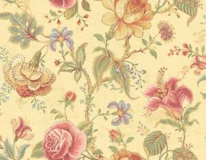Wallpaper-Large-Traditional-Bright-Jacobean-Floral-Vine-on-Pearl-Golden-Cream