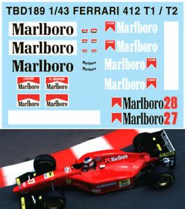 1/43 Ferrari 412 T1 / T2 G.berger J.alesi Decals Tb Decal Tbd189 Emballage Fort