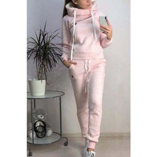 Plus Size Damen Winter mit Kapuze 2PCS Trainingsanzüge Set Lounge Wear Tops  CL