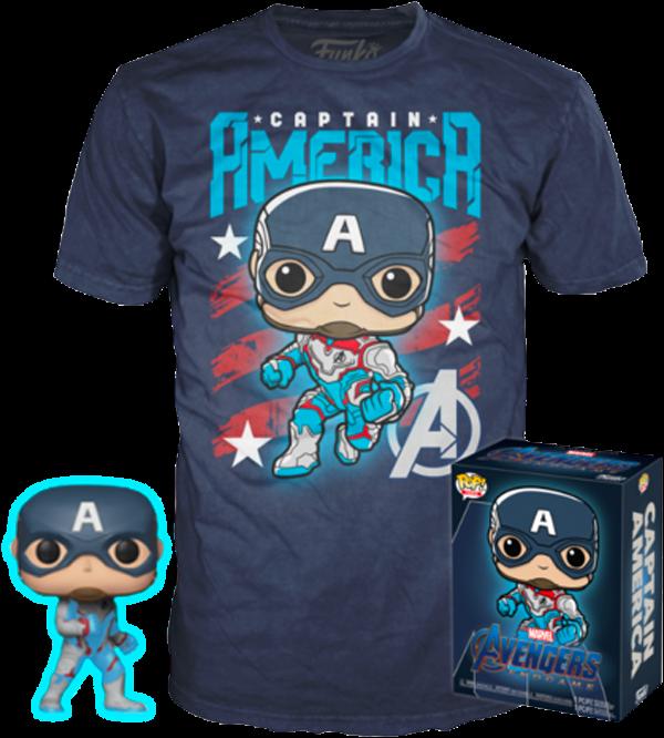 Captain America Glow GITD Endgame Funko Pop  Vinyl + T-shirt New in Box