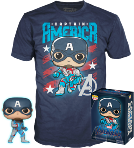 Captain-America-Glow-GITD-Endgame-Funko-Pop-Vinyl-T-shirt-New-in-Box