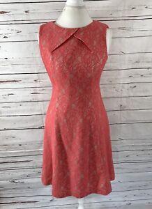 tahari-arthur-s-levine-Women-039-s-6-Lace-dress-Sleeveless-Orange-A-line