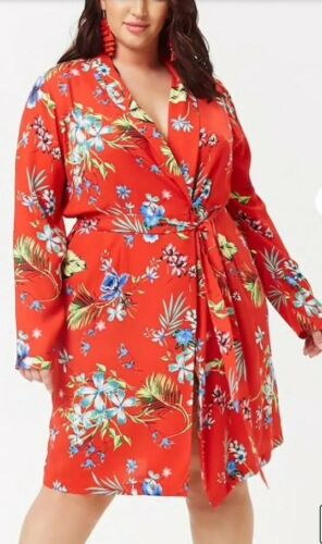 Forever 21 Long Kimono Duster Jacket Cover Up Red Floral Print Plus Size 1X