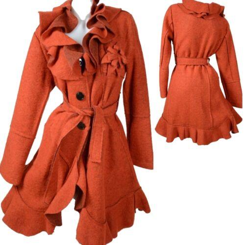 Manteau 40 42 en 44 46 Orange Volants à élégante laine 38 superpositions rra0wq
