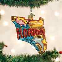 State Of Florida Glass Ornament Old World Christmas In Box Pink Flamingo