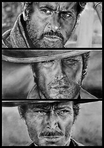 The Good The Bad /& The Ugly Giant Poster Art Print Black /& White Card Canvas