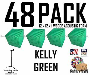 "Acoustic Foam 48 Pack Kelly Green Studio Soundproofing Tiles 12x12x1"" inch Wedge"