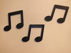 Details about Set Of 3 Black Wood Musical Notes 4