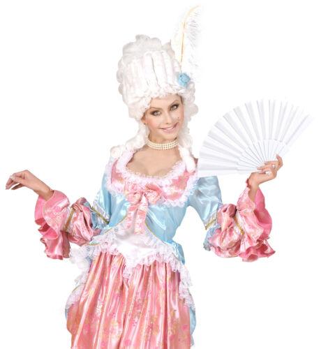 WEIßER STOFF FÄCHER # schlicht Karneval Barock Hochzeit JGA Cosplay Travestie