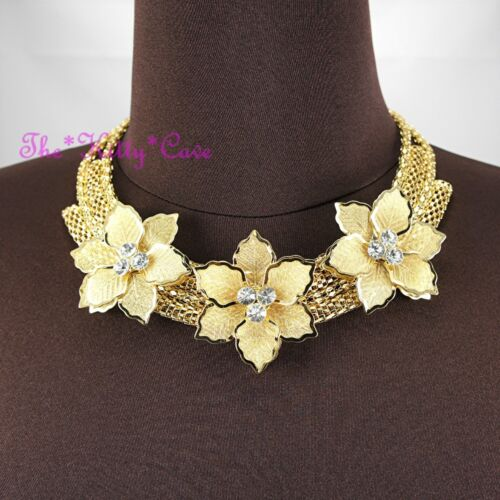 Gold Deco Metal Triple Lace Mesh Floral Flower Garland Crystal Collar Necklace