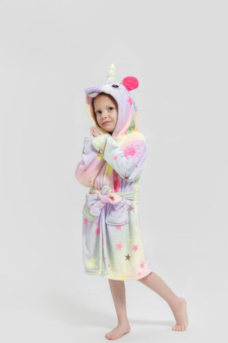 Kids Girls Boys Bath Robe Animal Unicorn Dressing Gown Fleece Night Lounge Wear