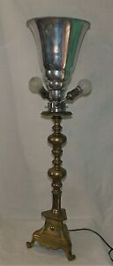 ANCIENNE-LAMPE-TORCHERE-BAROQUE-GRAND-CHANDELIER-EN-BRONZE-SURMONTE-D-039-UNE-TORCHE