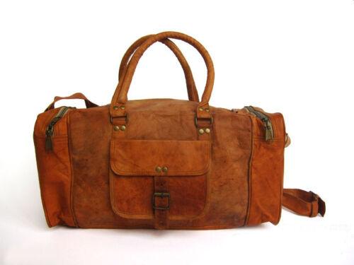 BagBuckles Handmade Vintage Luggage Style Brown Leather Overnight Hand clFKJuT13