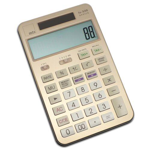 mts fn-X88 OFFICE Taschenrechner Tischrechner Aluminium Metall Calculator gold