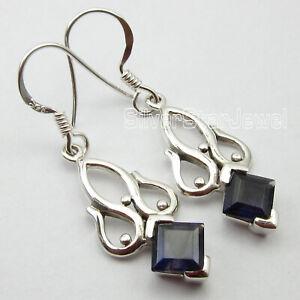 Sterling-Silver-Iolite-Dangle-Earrings-Ladies-Gift-Jewelry