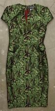 ZAC POSEN Womens Green Leaf Jacquard Cap-Sleeve Cocktail Sheath Dress XS