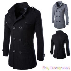3b0b0b187a Wool Coat Men's Double Breasted Peacoat Long Men Jacket Winter ...