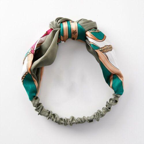 Headscarf Elastic Headbands Scrunchy Double Color Stitching Cross Knot Women