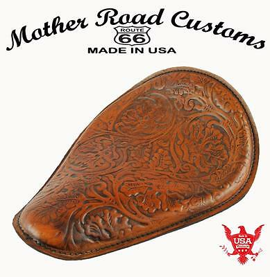 Mother Road Customs Tan Ant Oak Leaf Tooled Seat Chopper Harley Sportster Bobber