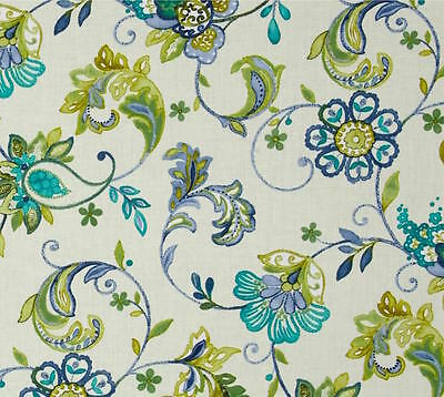 By 1//2 Yard Benartex Fabric Aria Melody Turquoise Dover Hill ~ Floral Vines Aqua