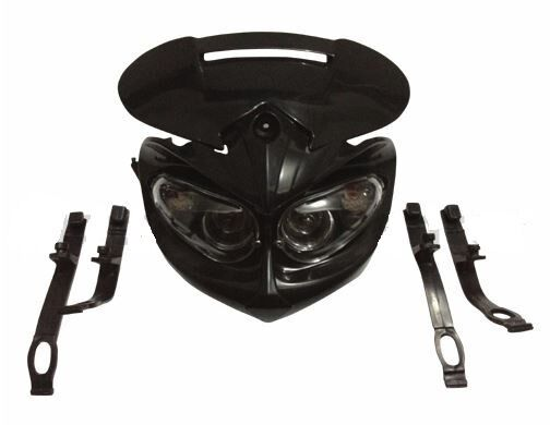 Black Cyclops Motorcycle Headlight w/ Turn Signals Street Fighter Streetfighter