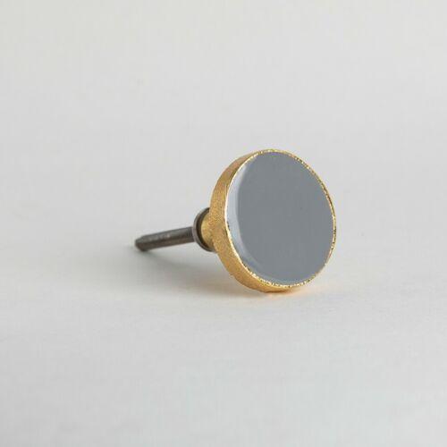 Light Grey Gold Round Enamel Knob Handle Cupboard Drawer Pull Bertie Bombay Duck