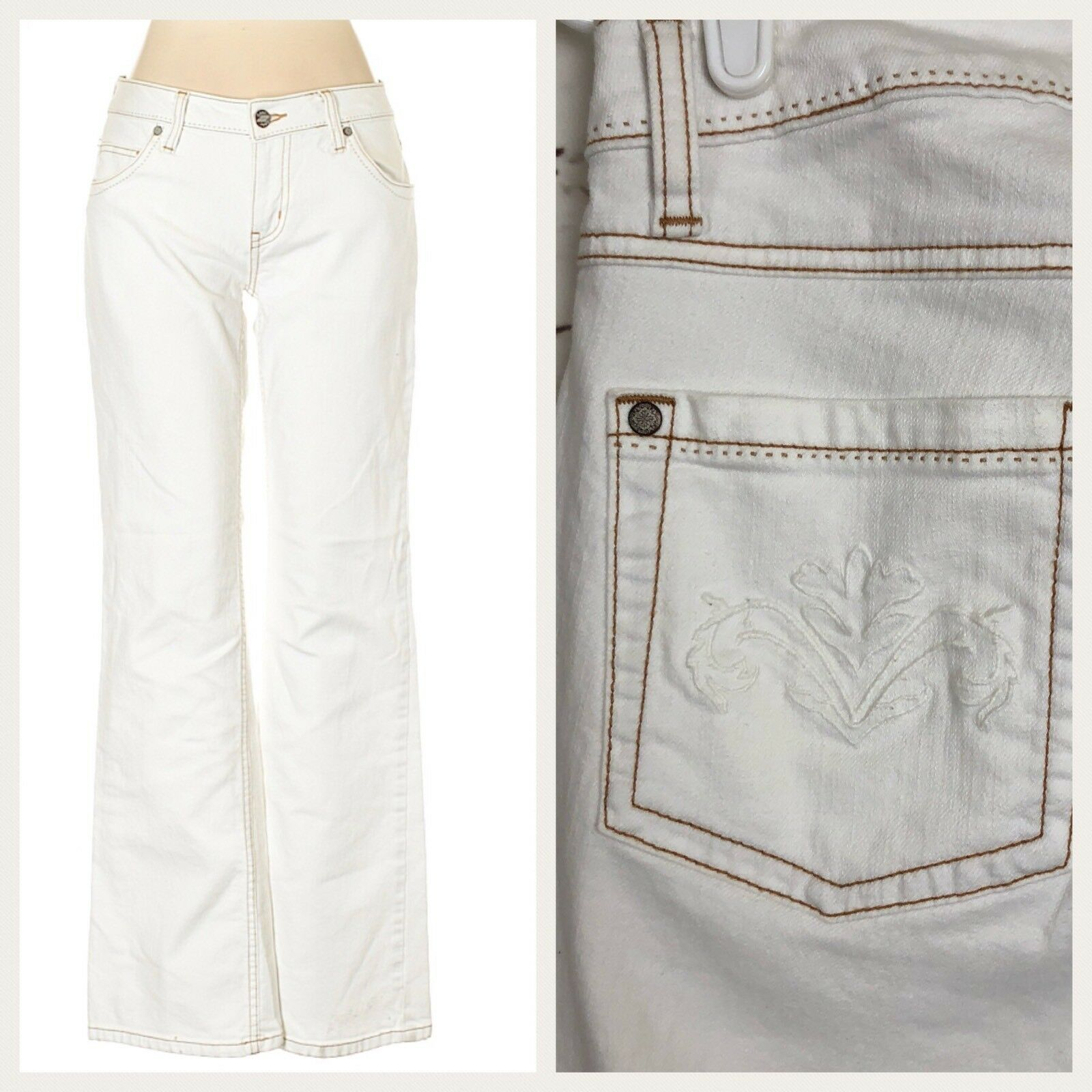 CAbi Womans White Jeans SZ 4 Embroidered Wide Leg Flare 895-L Bootcut Stretch
