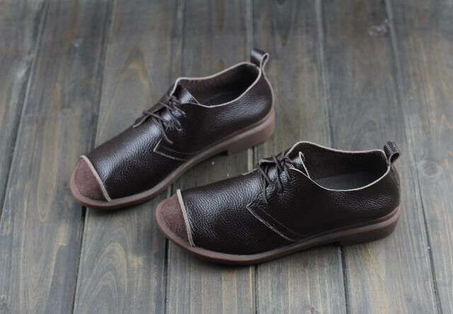 Genuine Leather Flat sautope Round toe Lace up Flats Ladies Moccasins