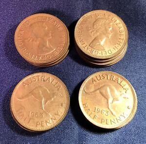 1963-HALF-PENNY-10-X-Coin-PRE-DECIMAL-AUSTRALIAN-COIN-Suit-Variety-Error-PCGS