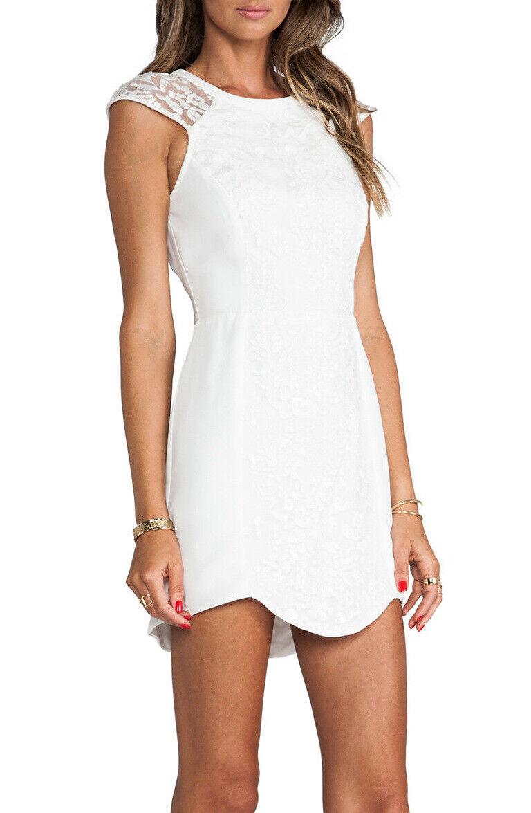 NWT Cameo Cameo Cameo the Label C MEO Womens White Lace Zip Mini Dress Cap Sleeve  190 a80f5f