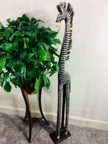 WOODEN ZEBRA ORNANMENT 150CM HAND CARVED AND HAND PAINTED