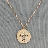 Simple Dainty Gold Chain Cross Message Double Pendants Necklace