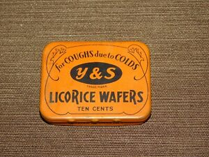 """VINTAGE 2 1/8"""" MEDICINE Y & S LICORICE WAFERS FOR COUGHS DUE TO COLDS TIN *EMPTY"""