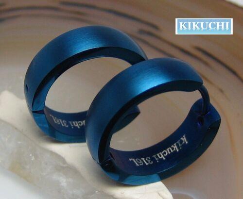 Edelstahl Creolen Titan blau IP matt Damen Herren Ohrringe 18mm Flinserl Bogen