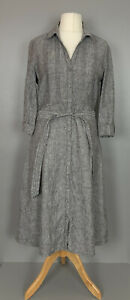 Laura-Ashley-Uk12-Grey-Linen-Fit-amp-Flare-Midi-Dress-Button-Down-Belted-Stylish