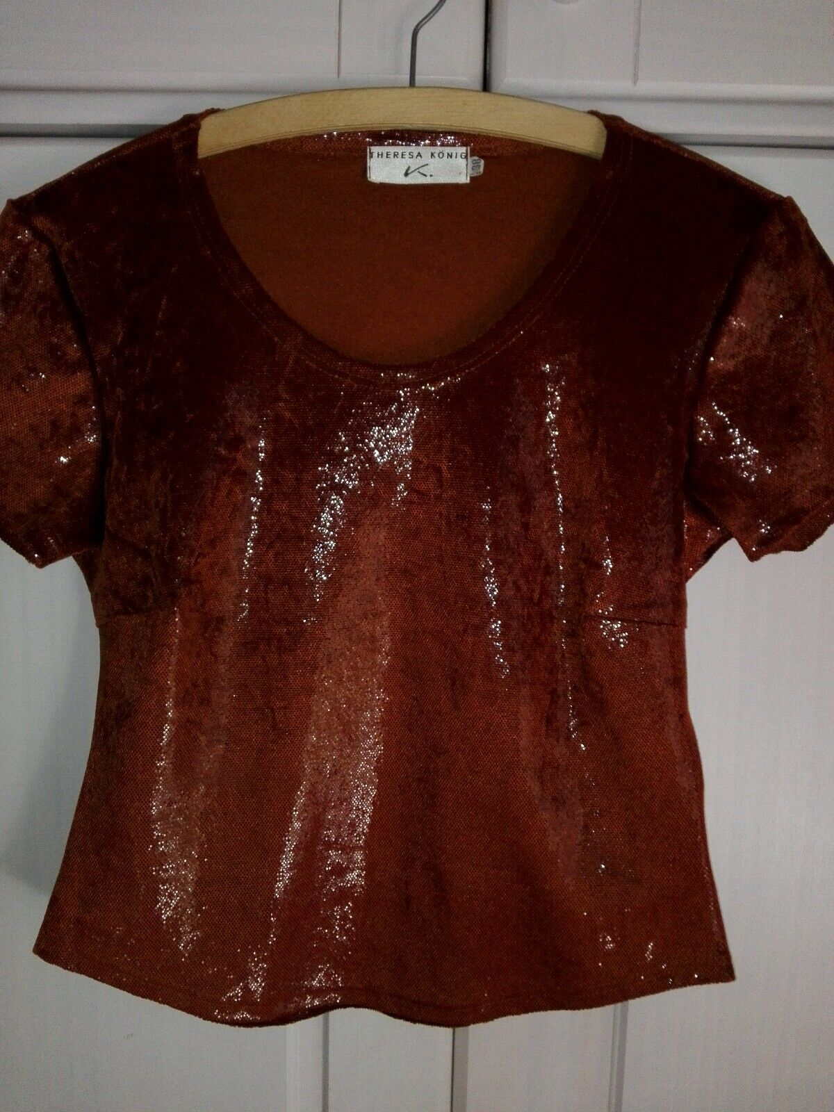 Theresa König luxuriöses Shirt in Größe 36-38 Cognac neuwertig