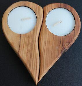 Olivenholz-Kerzenhalter-Teelicht-Halter-034-Broken-Heart-034-Kerzenstaender