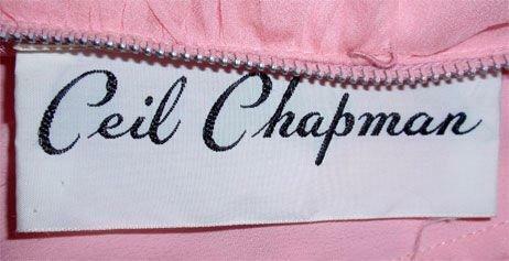 CEIL CHAPMAN 1960s Pink Chiffon Bodice Cocktail D… - image 11